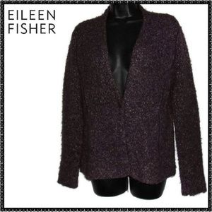 EILEEN FISHER Sweater S Brown BUTTON CARDIGAN